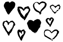 Hand Drawn Hearts With Paint B...