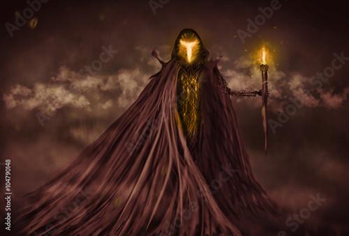 Grim Reaper or evil spirit illustration - Buy this stock