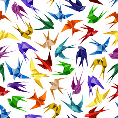Fototapeta Origami paper swallows seamless pattern