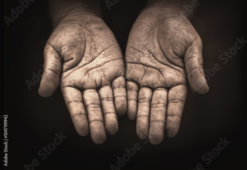 hand of child beggar Wallpaper Mural