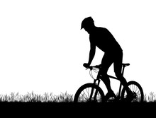 Silhouette Of A Cyclist On A M...