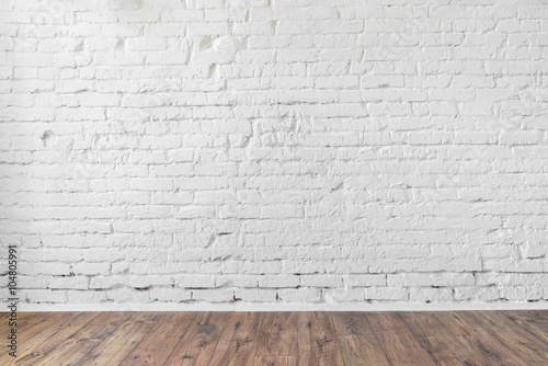 Deurstickers Baksteen muur white brick wall texture background wooden floor loft