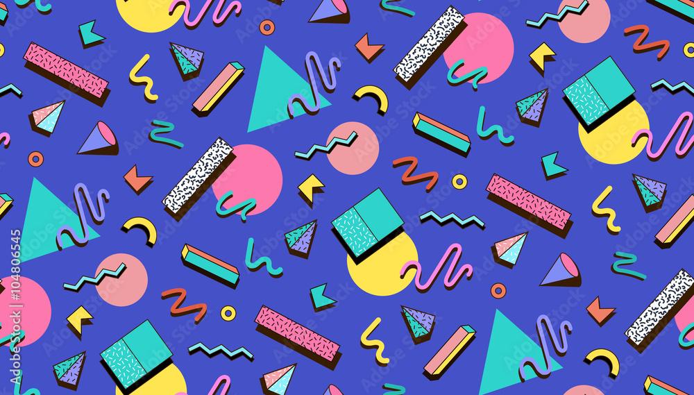 Fototapeta Illustration for hipsters Memphis style.