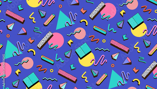 Illustration for hipsters Memphis style. Wallpaper Mural