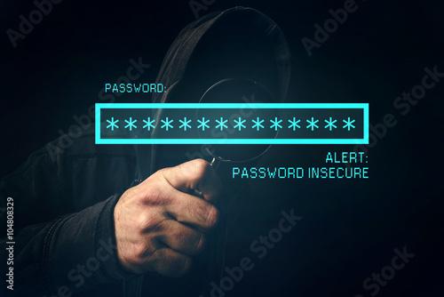 Fotografie, Obraz  Heslo nejistá střehu, k nepoznání počítačový hacker kradení