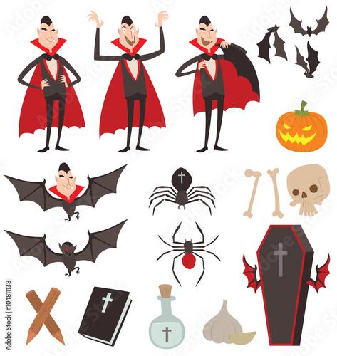 Cartoon Dracula vector symbols icons Poster