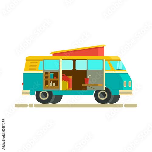 Vector illustration retro camper van The journey by car