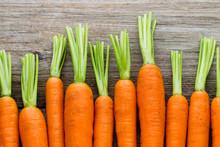 Fresh Carrots Bunch On Rustic ...