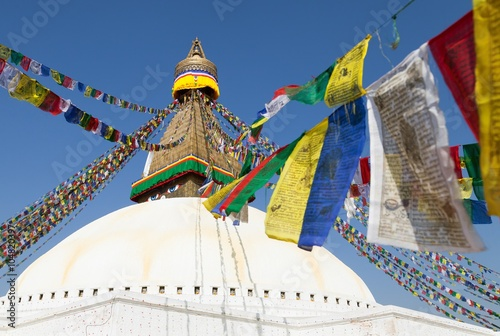 Staande foto Nepal prayer flags and Bodhnath stupa in Kathmandu, Nepal