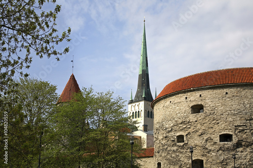 Church of St. Olaf and Fat Margaret tower in Tallinn. Estonia Poster