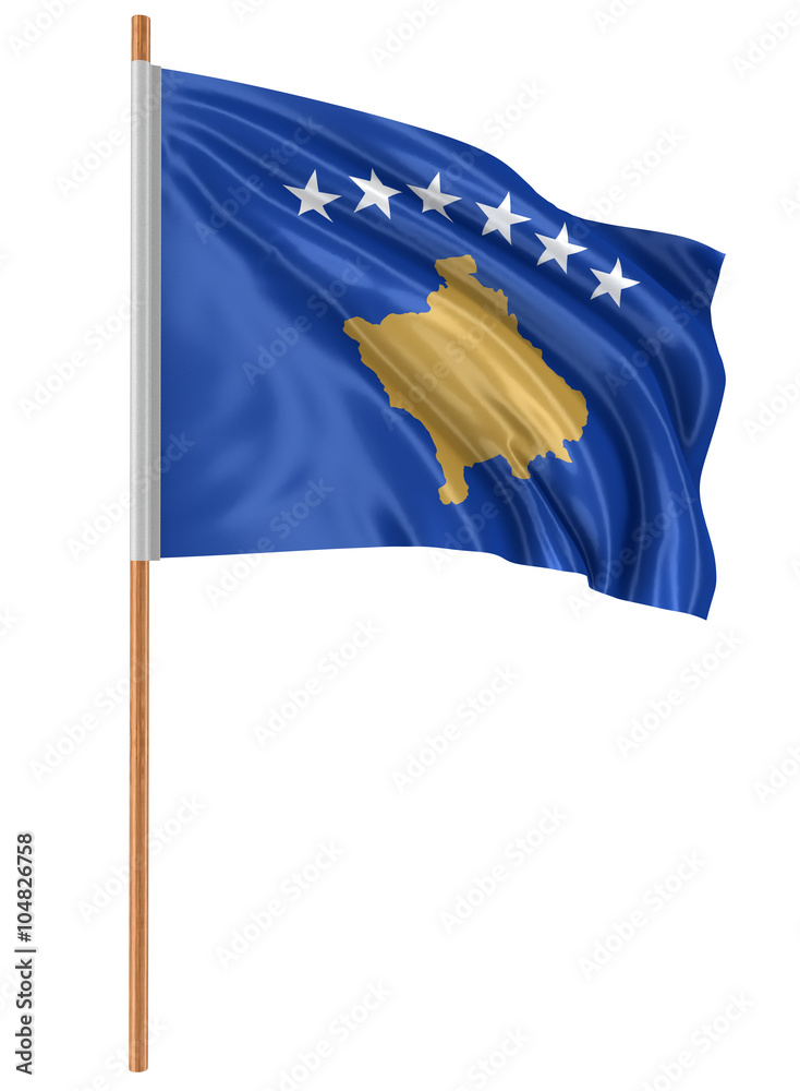 3d Kosovo Flag With Fabric Surface Texture White Background Foto