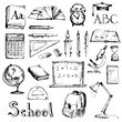 Back to school. Hand drawn education objects set. White background. Vector illustration.