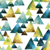 Watercolor triangle seamless pattern. - 104828753
