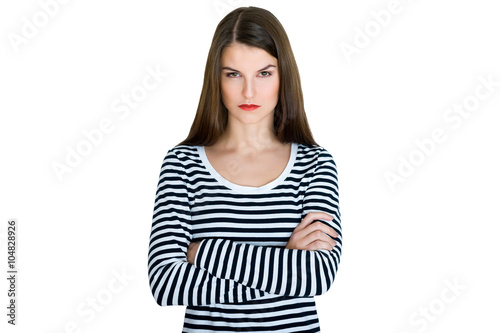 Photo Young serious angry woman portrait on a white background