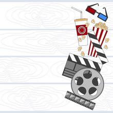Cinema Set Film Movie Camera Popcorn Empty Copy Space
