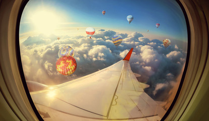 Panel Szklany Samoloty Clouds ,sky and Balloons as seen through window of an aircraft