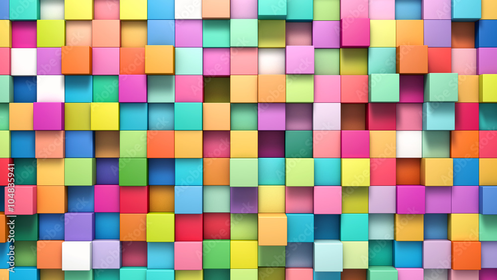 Fototapety, obrazy: Abstract background of multi-colored cubes