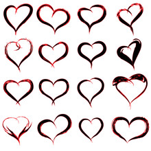 Conceptual Painted Red Black Heart Shape Or Love Symbol Set