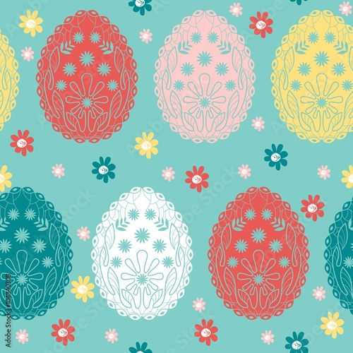 Cotton fabric Cute vector seamless pattern with easter eggs.