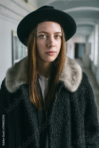 Portrait of a woman with sad look Poster