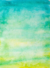 Abstract Watercolor Background With Green And Blue Stains
