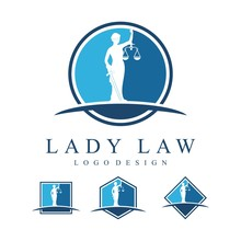 Simple Circle Design Lady Justice Or Lady Law Logo