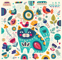 Fototapeta Do gabinetu lekarskiego/szpitala Vector colorful illustration with beautiful cat, butterflies, birds and flowers