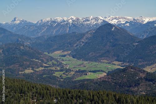 Poster de jardin Parc Naturel Blick vom Jochberg in die bayerischen und troler Alpen