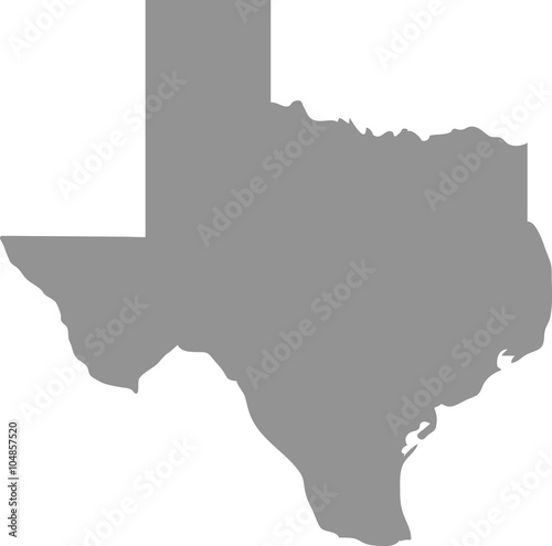 Photo  Texas map in gray on a white background
