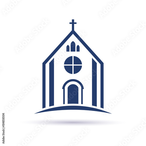 Church Cathedral with cross. Vector Graphic design