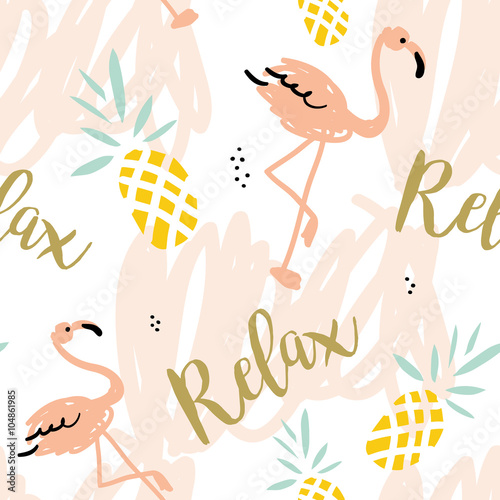 plakat Blush pink flamingo, pineapples and message Relax on the white background with pastel strokes. Vector seamless pattern with tropical bird and fruit.