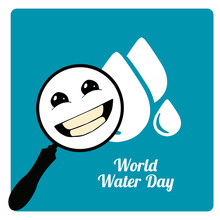 Magnifiers In The World Water Day In Blue Color