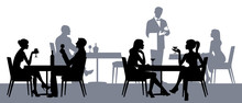 Silhouettes Of People Sitting At The Tables In The Restaurant Or