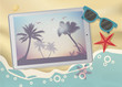 Summertime Tropical Vacation. Exotic Island with Palm Trees on tablet.