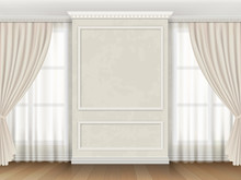 Classic Interior With Panel Moldings And Windows Curtains. Realistic Vector Illustration.