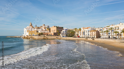 Foto op Canvas Barcelona The beautiful town of Sitges, Spain in a sunny spring day