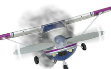 Cessna 172 Front With Smoke Coming From Engine On White
