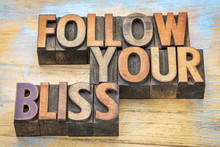 Follow Your Bliss In Wood Type