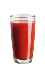 Fresh Red Tomato Juice In A Glass Isolated On White Background