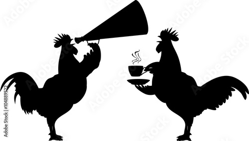 Fotografiet crowing rooster - early morning