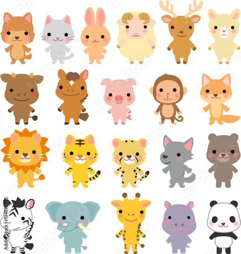 Canvastavla いろいろな動物のキャラクターのセット