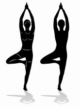 Silhouette Of A Woman Practicing Yoga