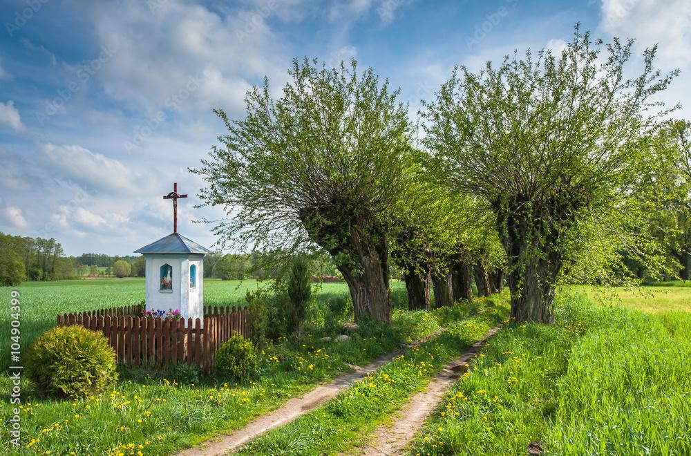 Chapel on the way to the village Mazovia Poland - obrazy, fototapety, plakaty