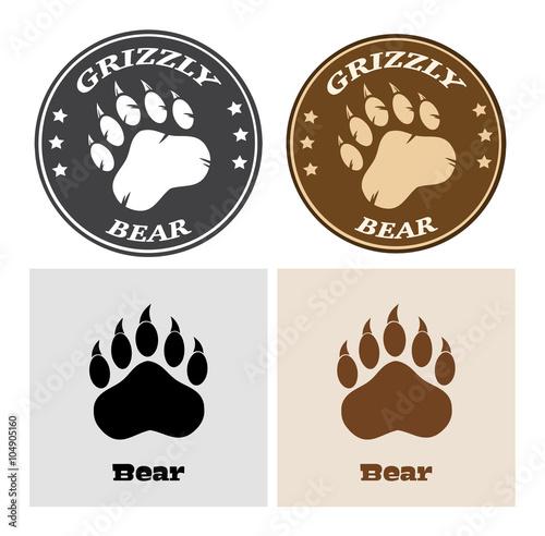 Photo  Bear Paw Print Circle Logo Design 2. Collection Set
