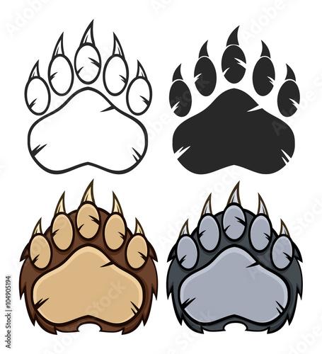 Bear Paw Logo Design. Collection Set Wallpaper Mural