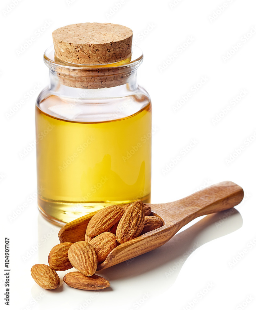 Fototapety, obrazy: Almond oil and almonds