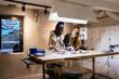 People working in modern beautiful workshop