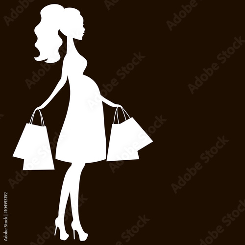 Vector Illustration Of Modern Pregnant Mommy The Woman Does The Shopping Online Store Logo Silhouette Stylized Symbol Of Mother S Sale Icon White On Black Background Buy This Stock Vector And Explore