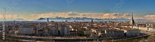 Fotografiet Torino panoramica al tramonto dall'alto
