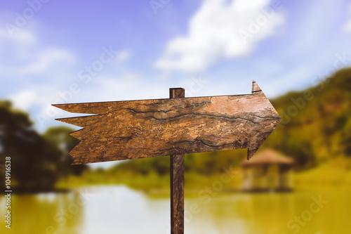Fotografie, Obraz  Seta direcional de madeira